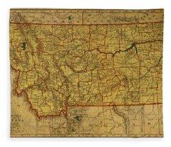 Vintage Map Of Montana Fleece Blanket