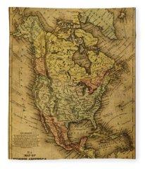 Vintage Map Of North America 1858 Fleece Blanket