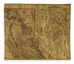 Vintage Map Of Northern California Fleece Blanket