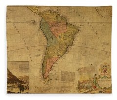 Vintage Map Of South America 1715 Fleece Blanket