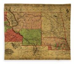 Vintage Map Of Western States Usa 1866  Fleece Blanket