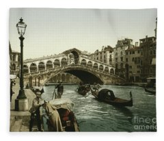 Vintage Photograph Of The Rialto Bridge Venice Fleece Blanket