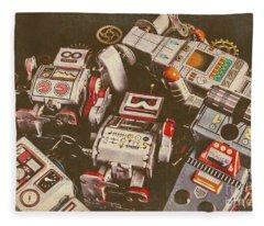 Vintage Robotronics Fleece Blanket