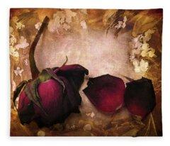 Vintage Rose Petals Fleece Blanket
