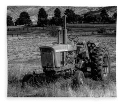 Vintage Tractor In Honeyville Bw Fleece Blanket