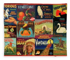 Vintage Western Theme Fruit And Vegetable Crate Labels Fleece Blanket