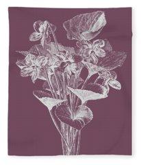 Viola Cucullate Purple Flower Fleece Blanket