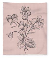 Violet Blush Pink Flower Fleece Blanket