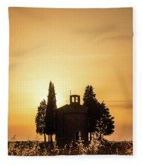 Vitaleta Chapel At Sunset, Tuscany Italy Fleece Blanket