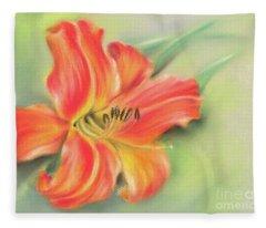 Vivid Orange Daylily Fleece Blanket