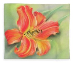 Vivid Orange Daylily Fleece Blanket