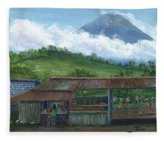 Volcano Agua, Guatemala, With Fruit Stand Fleece Blanket