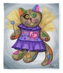 Voodoo Empress Fairy Cat Doll - Patchwork Cat Fleece Blanket