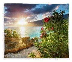 Vouti Beach, Kefalonia, Greece - Incredible Summer Sunrise By Th Fleece Blanket