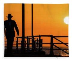 Walking Into The Sunset Fleece Blanket