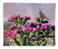 Walking Stick Cactus And Wren Fleece Blanket