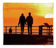 Walking The Dog At Sunset Fleece Blanket