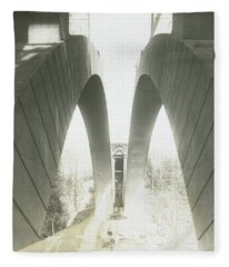 Walnut Lane Bridge Under Construction Fleece Blanket