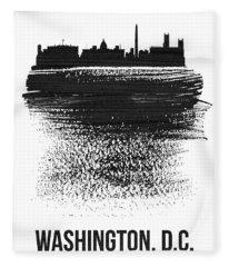 Washington, D.c. Skyline Brush Stroke Black Fleece Blanket