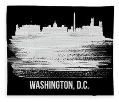 Washington, D.c. Skyline Brush Stroke White Fleece Blanket