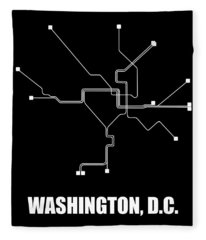 Washington, D.c. Square Subway Map Fleece Blanket