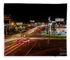 Washington Road At Night - Augusta Ga Fleece Blanket