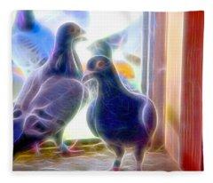 Watchful Homing Pigeons Fibers Fleece Blanket