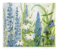 Watercolor Blue Flowers Fleece Blanket