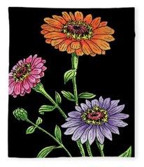 Watercolor Flowers Zinnia Fleece Blanket