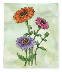 Watercolor Orange Pink Purple Zinnia Flowers Fleece Blanket