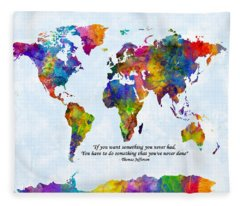 Watercolor World Map Custom Text Added Fleece Blanket