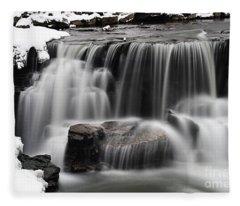 Waterfall And Snow Fleece Blanket
