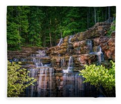 Fleece Blanket featuring the photograph Waterfall At Top Of The Rock by Allin Sorenson