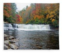 Waterfall In Autumn Fleece Blanket
