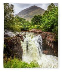 Waterfall Under The Mountain Fleece Blanket