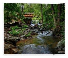 Waterfall With Wooden Bridge Fleece Blanket