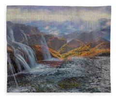 Waterfalls In The Mountains Fleece Blanket