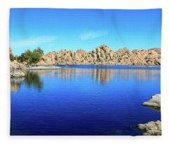 Watson Lake And Rock Formations Fleece Blanket