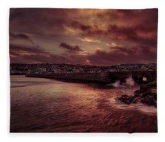 Wave At The Pier Fleece Blanket