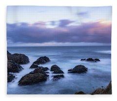 Waves At The Shore In Vesteralen Recreation Area Fleece Blanket