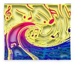 Waves Of Music 3d Fleece Blanket