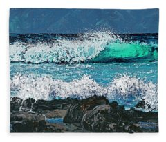 Waves On Napili Bay Fleece Blanket