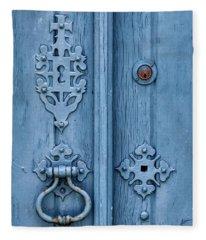 Weathered Blue Door Lock Fleece Blanket