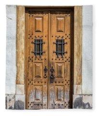 Weathered Brown Door Of Portugal Fleece Blanket