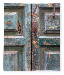 Weathered Rustic Green Door Of Cortona Fleece Blanket