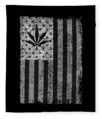 Weed Leaf American Flag Us Fleece Blanket