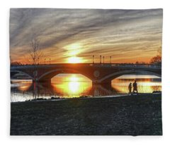 Weeks Bridge At Sunset Fleece Blanket