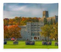 West Point In Autumn Fleece Blanket