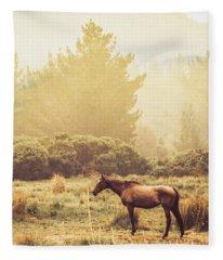 Western Ranch Horse Fleece Blanket