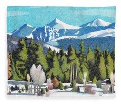 Fleece Blanket featuring the drawing Western Slope Winter by Dan Miller